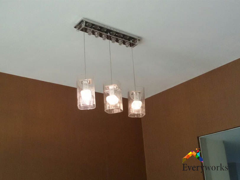 Installing Hanging Light Fixtures Electrician Singapore – Landed, Cashew Road