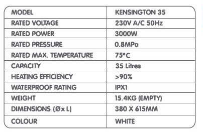 707 Kensington Storage Water Heater 35L