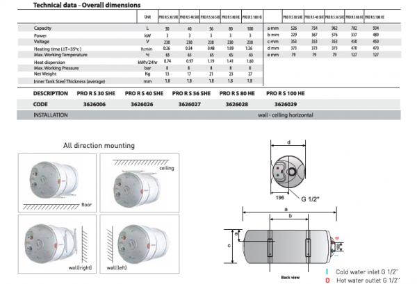 Ariston Pro R Slim 30L Storage Water Heater