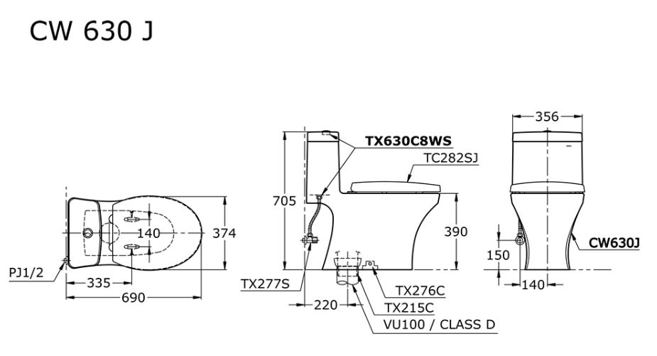 TOTO CW630J 1-Piece Toilet Bowl