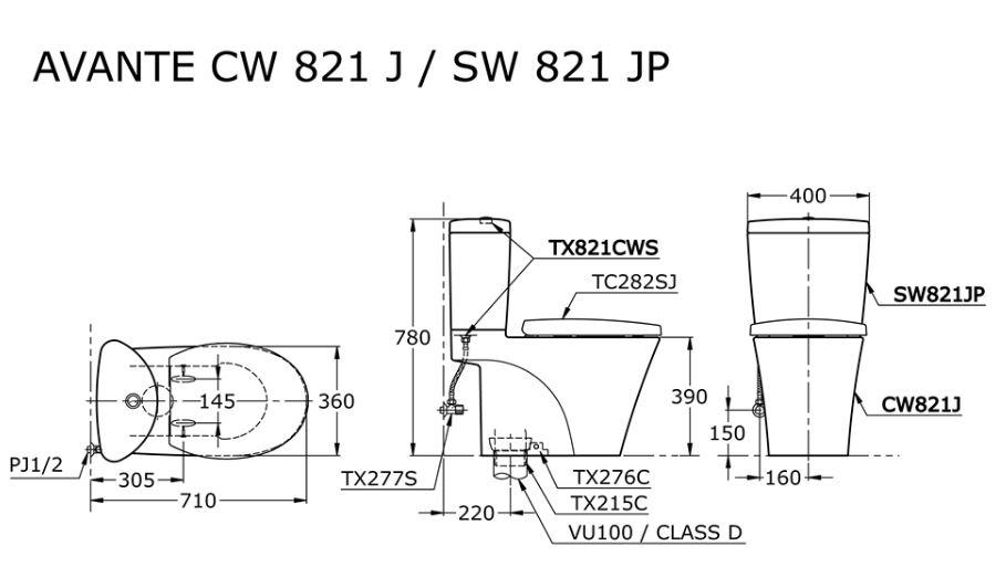 TOTO CW821PJ 1-Piece Toilet Bowl