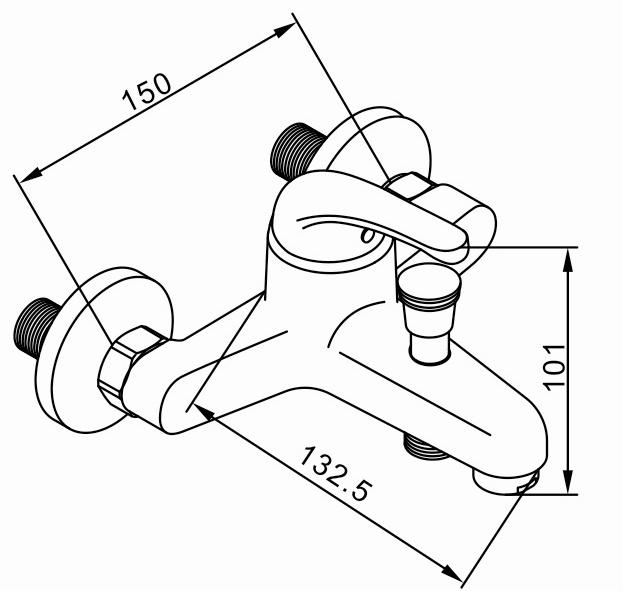 Rubine Shower Mixer Tap Platino - 6061