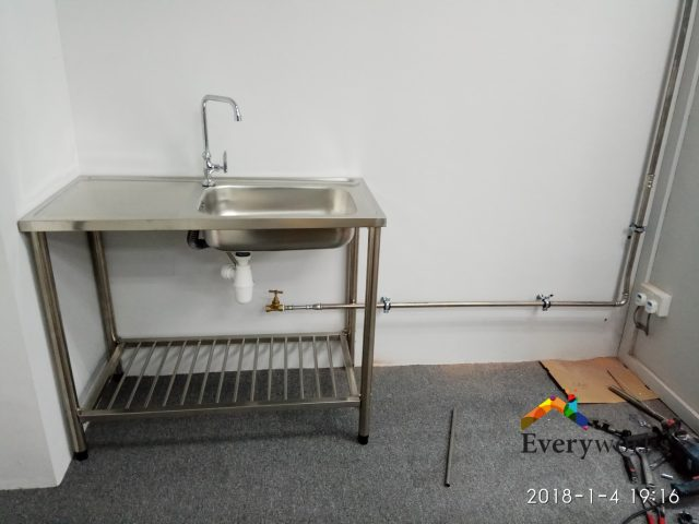 Lay & install Exposed stainless steel piping to Sink Plumber Singapore – Commercial Office Boon Lay