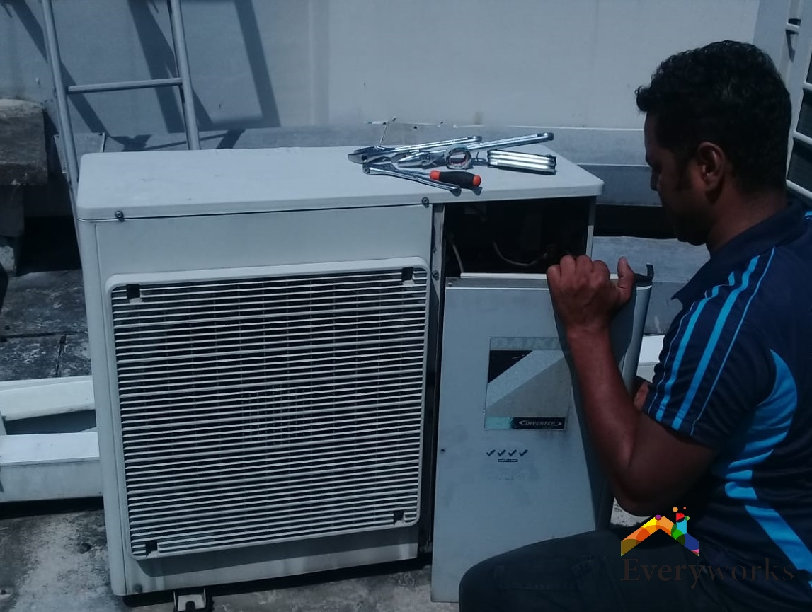 Replacement of New Fan Coil & Condenser, Mitsubishi Aircon Installation – Commercial Building Woodlands