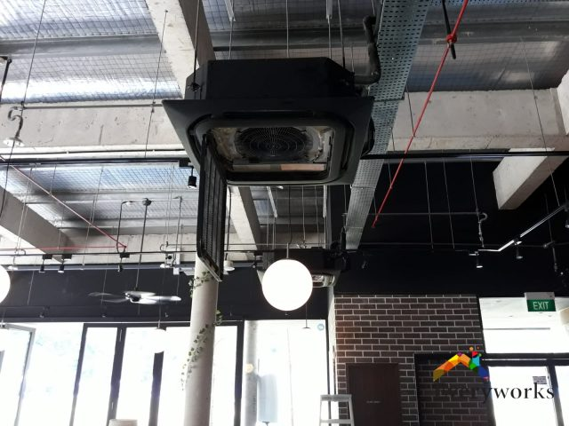 Restaurant Aircon Servicing Ceiling Cassette and aircon gas top up Daikin VRV commercial East Coast Parkway