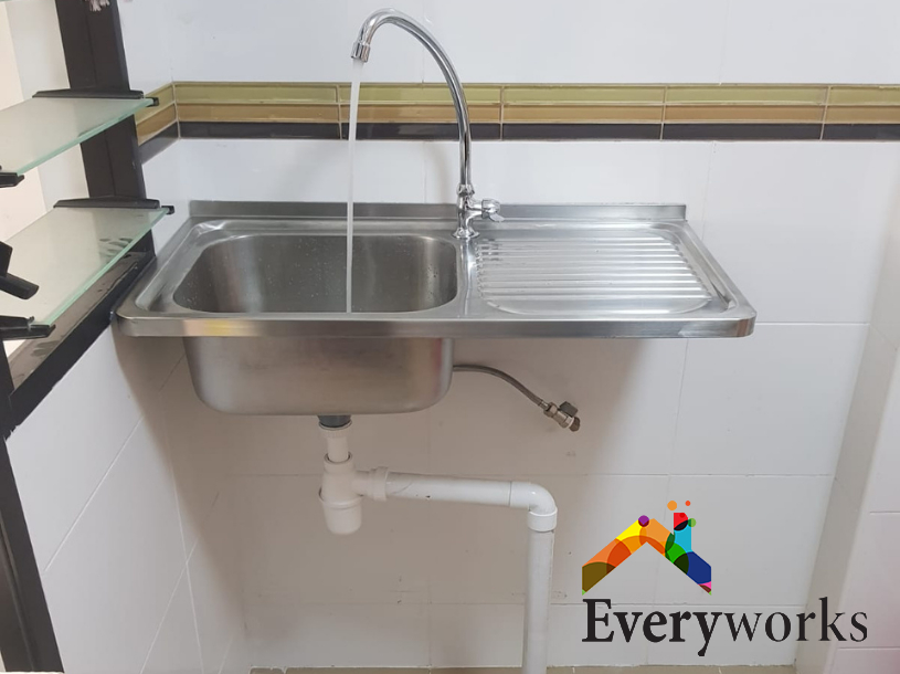 New Kitchen Sink Installation Plumber Singapore HDB – Sengkang